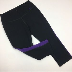 Nike Dri-Fit Black Purple Athletic Capri Pants